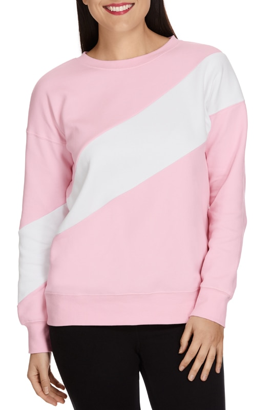Bonds New Era Pullover - Silk Pink & Grey / M