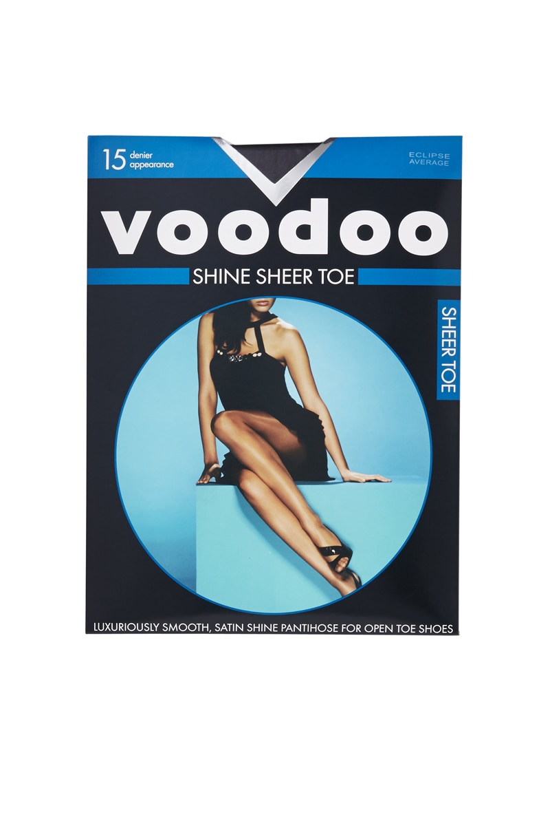 Voodoo Shine Sheer Toe Pantihose 15 Denier 5 Pk - Eclipse / Extra Tall
