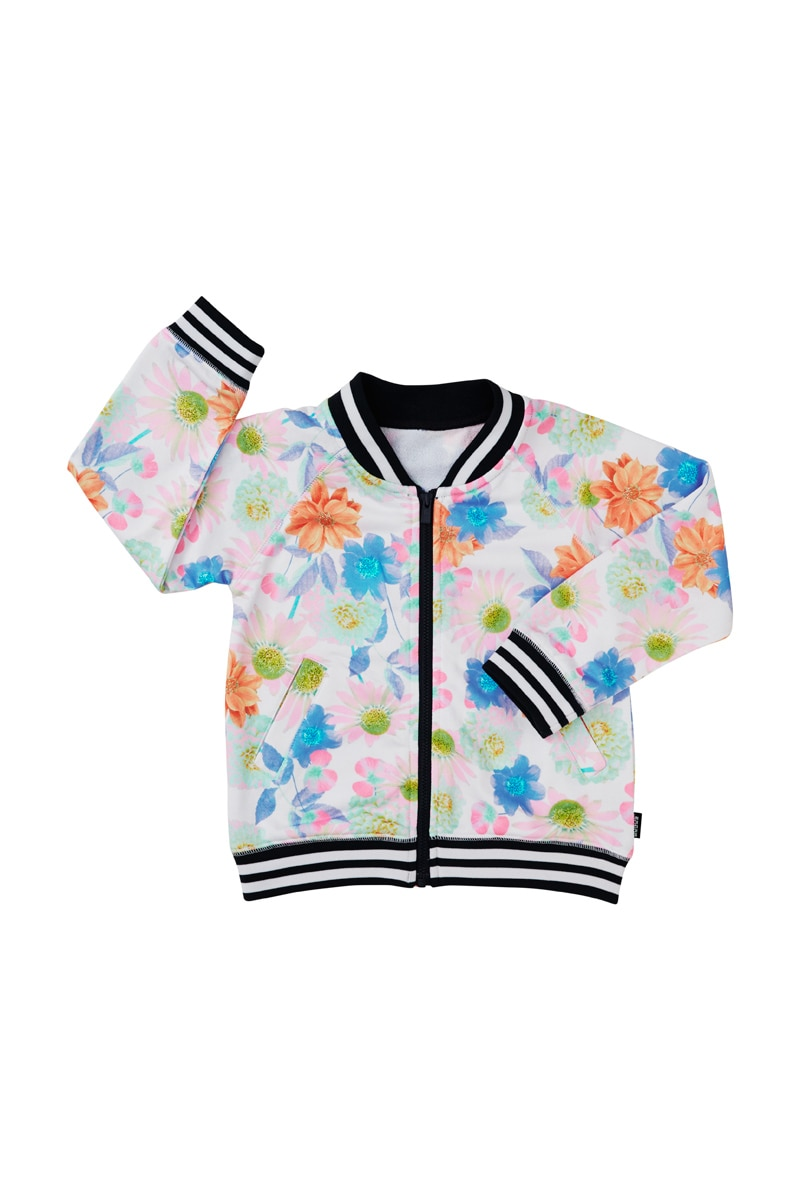 Bonds Kids Retro Ribs Bomber Jacket - Retro Rib Highlighter Bloom / 4