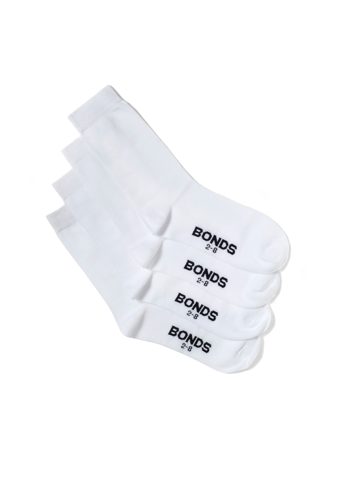 Bonds Kids School Oxford Crew Socks 4pk - White / 3-8 (10+ Years)