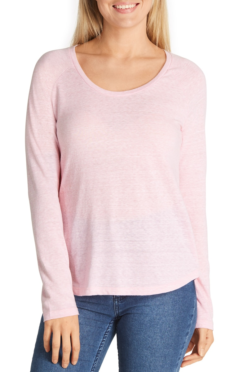Bonds Raglan Long Sleeve Tee - Silk Pink / XL
