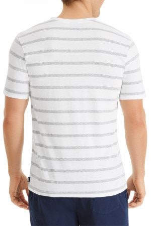Bonds Triblend Stripe Crew Tee White & New Grey Marle AYE7I 41R