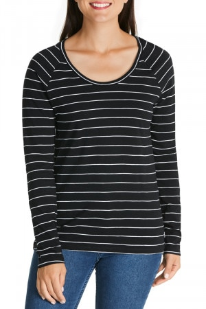 Bonds Besties Raglan Tee Paddington Stripe Black & White CWVHI 78G
