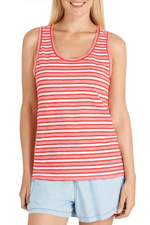 Bonds Outlet Besties Slub Scoop Tank Retro Stripe Luxe Red