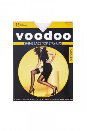 Voodoo Shine Lace Top Stay Ups 15 Denier 5 Pack Snow White H30440 345