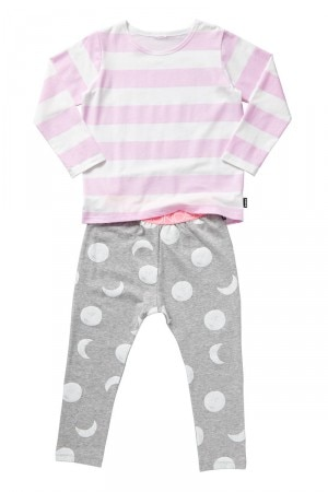 Bonds Kids Long Sleeve PJ Set Pink & Grey Marle KYB91A 06K