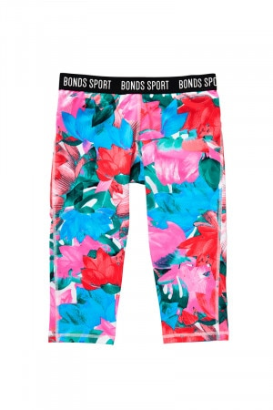 Bonds Girls 3/4 Micro Leggings Super Lotus Print UY4T1A 10T