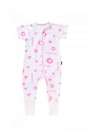 Bonds Outlet Zip Wondersuit Jurassic Shapes Pink